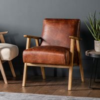 Product photograph showing Pembrokeshire Leather Armchair - Vintage Brown