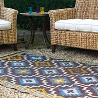 Product photograph showing Fab Hab Lhasa Outdoor Rug In Blue Brown