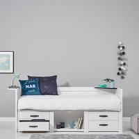 Product photograph showing Lifetime Kids Cabin Bed With Storage - Lifetime Whitewash