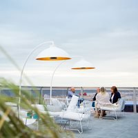 Heatsail Dome Freestanding Electric Patio Heater Floor Lamp in White
