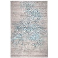Product photograph showing Zuiver Magic Woven Floor Rug In Ocean Blue - 200cm X 290cm