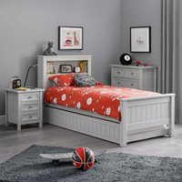 Product photograph showing Julian Bowen Maine Bookcase Bed - Surf White