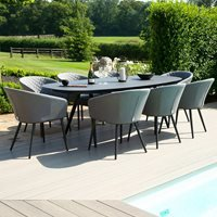 Maze Rattan Ambition 8 Seat Oval Dining Set - Lead Chine