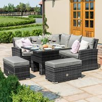 Maze Rattan Richmond Corner Bench Set with Rising Table - Grey