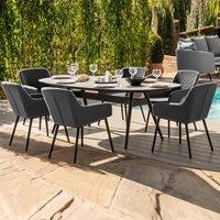 Maze Rattan Zest 6 Seat Oval Dining Set - Charcoal