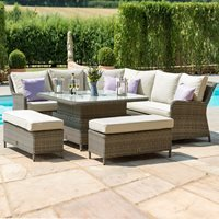Maze Rattan Winchester Royal Corner Dining Sofa Set with Rising Table