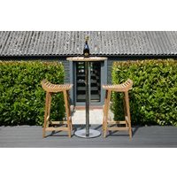 Product photograph showing Menton Teak Barstool Set Including 2 Stools Bar Table