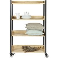 Product photograph showing Huib Oak Metal Storage Trolley With Wheels By Woood