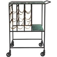 Product photograph showing Dutchbone Mil Marble Top Drinks Trolley With Iron Frame