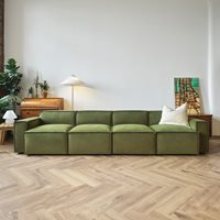 Product photograph showing Swyft Sofa In A Box Model 03 Modular Velvet 4 Seater Sofa - Vine