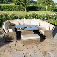Maze Rattan Winchester Royal U-Shaped Sofa Set with Rising Table