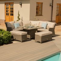Maze Rattan Winchester Royal Corner Sofa and Bench Set with Fire Pit