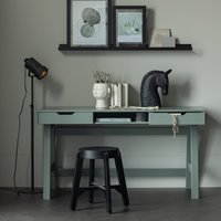 Product photograph showing Nikki Computer Office Desk In Army Green By Woood
