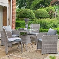 Product photograph showing Morston Space Saving 2 4 Seat Dining Set In Grey