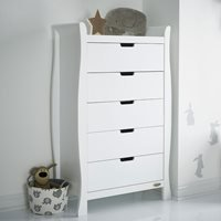 Product photograph showing Obaby Stamford Tall Chest Of Drawers - Warm Grey