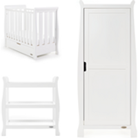 Obaby Stamford Sleigh Space Saver Cot 3 Piece Room Set in White