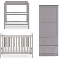 Obaby Grace Mini Cot Bed 3 Piece Nursery Furniture Set - Taupe Grey