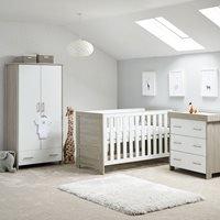 Obaby Nika Cot Bed 3 Piece Nursery Furniture Set - Grey Wash