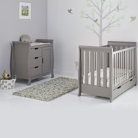 Obaby Stamford Mini Sleigh Cot Bed 2 Piece Nursery Set in Taupe Grey