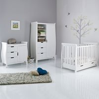 Obaby Stamford Mini Sleigh Cot Bed 3 Piece Nursery Set in White