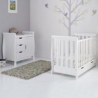 Obaby Stamford Mini Sleigh Cot Bed 2 Piece Nursery Set in White