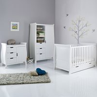 Obaby Stamford Sleigh Cot Bed 3 Piece Nursery Set in White