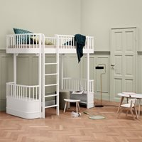 Oliver Furniture Wood Childrens High Loft Bed in White