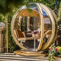 Luxury Rotating Lounger Garden Pod - Almond and Cool Blue