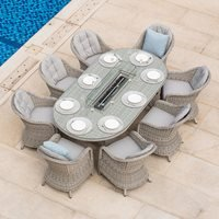 Maze Rattan Oxford Oval Fire Pit Dining Set