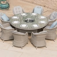 Maze Rattan Oxford Round Fire Pit Dining Set  - 6 Seat