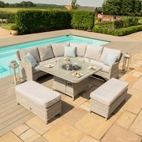 Maze Rattan Oxford Royal Corner Dining Set with Fire Pit
