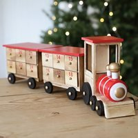 Personalised Wooden Train Advent Calendar - Red