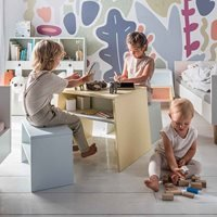 Product photograph showing Vox Tuli Kids Stackable Desk In Yellow Green