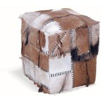 Product photograph showing Patchwork Cowhide Stool Box