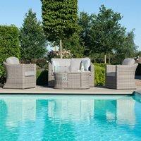 Maze Rattan Oxford 2 Seat Sofa Set with Fire Pit Coffee Table