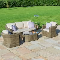 Maze Rattan Winchester 3 Seat Sofa Set with Fire Pit Coffee Table