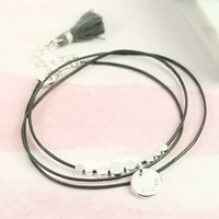 Personalised Silver Disc Bead Leather Bracelet