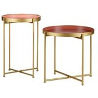 Product photograph showing Julez Set Of 2 Side Tables In Antique Brass By Woood