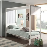Pino Four Poster Single Bed  - White