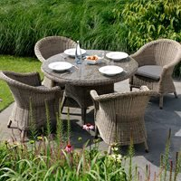 CHESTER RATTAN DINING TABLE AND CHAIRS SET by 4 Seasons Outdoor - 130cm Table and 4 Chairs
