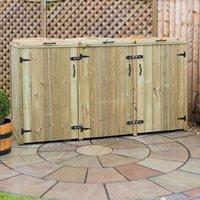 Product photograph showing Garden Village Superior Triple Fsc Wooden Wheelie Bin Storage - 360l