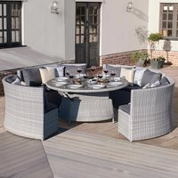 Maze Rattan Ascot Round Sofa Dining Set with Rising Table
