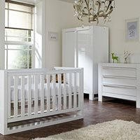 Tutti Bambini Rimini Cot Bed 3 Piece Nursery Set in White with Optional Free Mattress