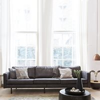 Product photograph showing Rodeo 3 Seater Leather Sofa In Black By Bepurehome