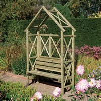 Rowlinson Rustic Garden Arbour Seat in Natural Timber