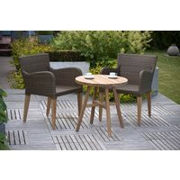 Luxury Weave and Teak Garden Bistro Set