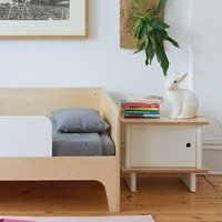 Product photograph showing Oeuf Bedside Table In White Birch
