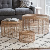 Product photograph showing Borneo Set Of 3 Rattan Coffee Tables