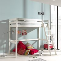 Pino High Sleeper with Slanted Ladder in White