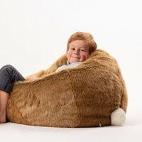 Product photograph showing Kids Faux Fur Hare Bean Bag